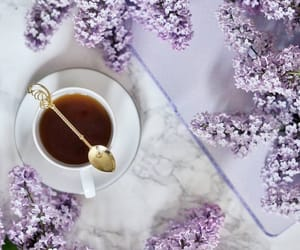 cup of tea, lilac, and tea image