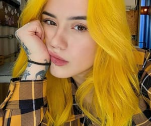 piercing, yellow, and yellow hair image