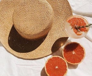 hat, summer, and fruit image