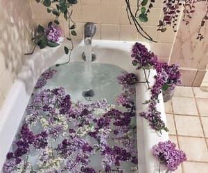 flowers, purple, and bathroom image