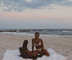 beach, couple, and black love image