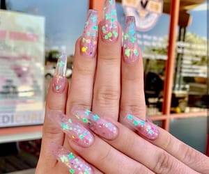 butterfly, glitter, and long nails image