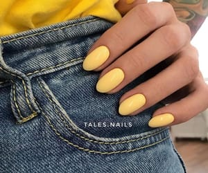 manicure, nails, and yellow image