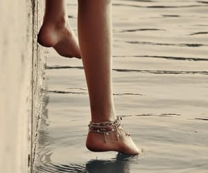 water, girl, and feet image