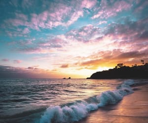 beach, california, and clouds image