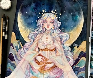 art, goddess, and luna image