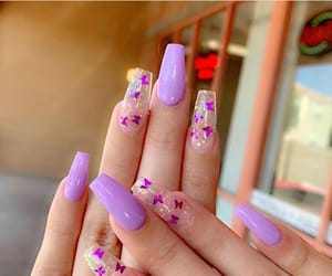 butterflies, nails, and purple image