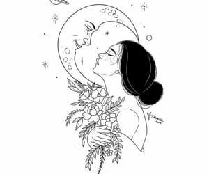 drawing, girl, and moon image
