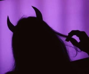 Devil, girl, and purple image
