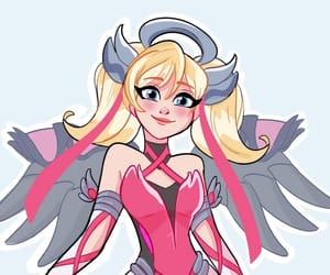 pink, mercy, and overwatch image