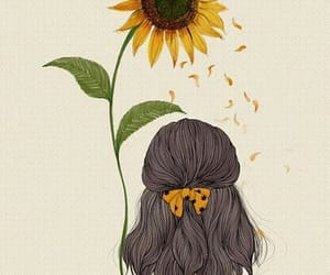 girl, background, and flowers image