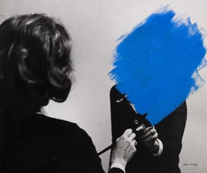 art, black and white, and blue image