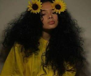yellow, girl, and sunflower image