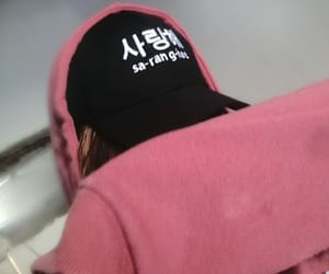 asian fashion, black and pink, and hat image