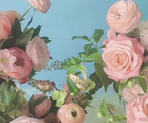 background, cyan, and flowers image