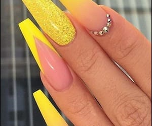 nails, yellow, and acrylics image