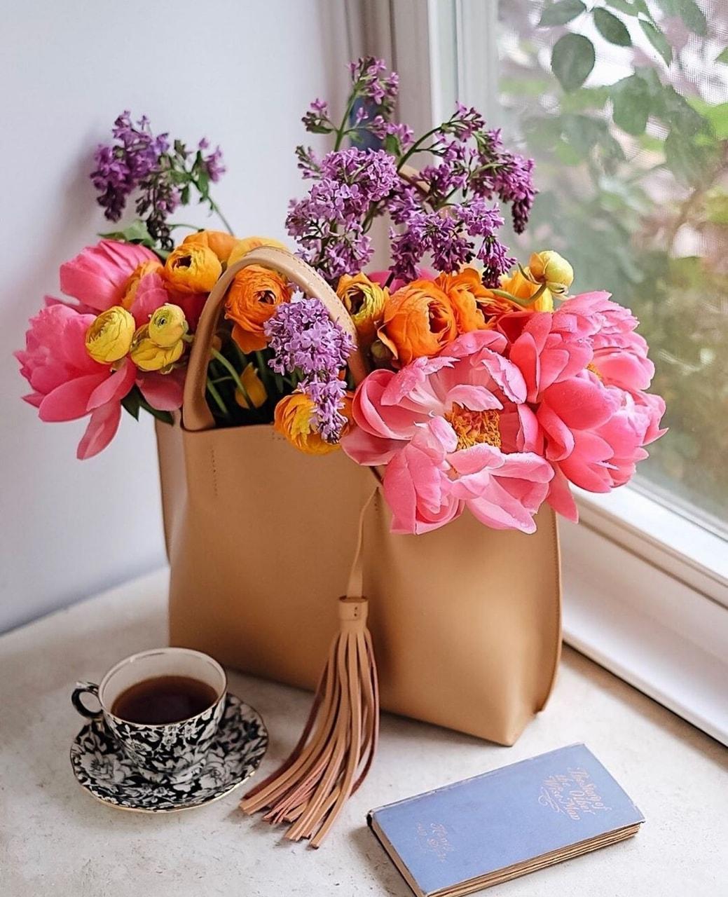 coffee, flowers, and bag image