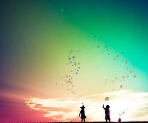sky, kids, and stars image