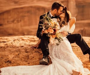 couple, kiss, and wedding image