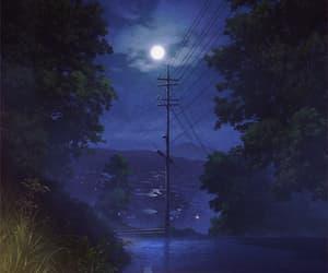 anime, moon, and night image