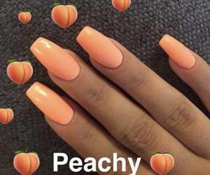nails, orange, and girl image