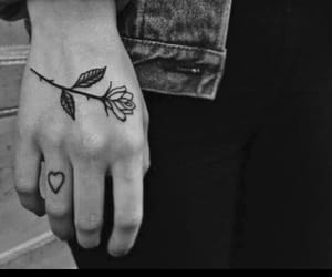 heart, inked, and rose image