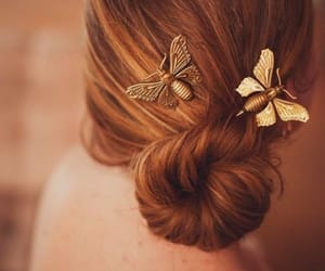 hair, butterfly, and beauty image