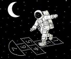astronaut, moon, and space image