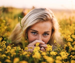 blonde, blue eyes, and flowers image