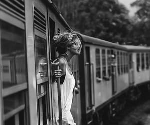 girl, train, and black and white image