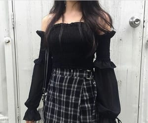aesthetic, black, and plaid image
