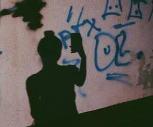 girl, graffiti, and shadow image