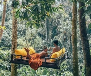 bali, couple, and forest image