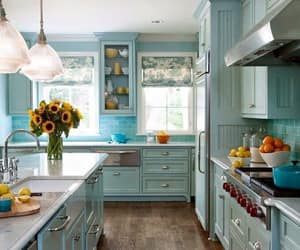 kitchen, blue, and home image