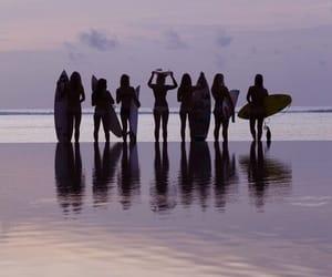 girls, purple, and sunset image
