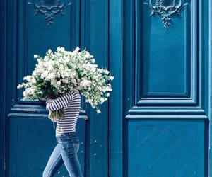 flowers, girl, and architecture image