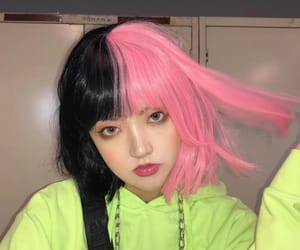 alt, pink and black, and emo hair image