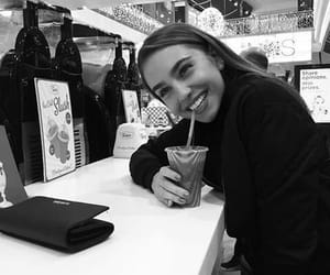 black and white, smiling, and drink image