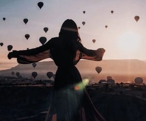 balloons, tumblr, and sunset image