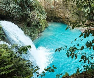 blue, summer, and waterfall image