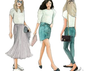 fashion blogger, illustration, and watercolor image