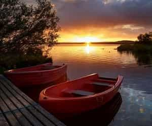 boat, nature, and sunset image