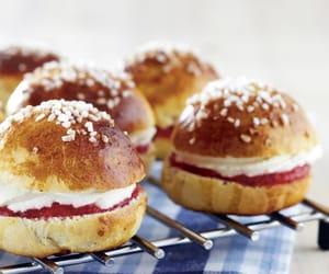 bun, strawberry, and cream image