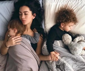 babys, bed, and mom image