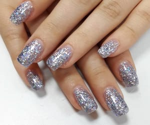 square nails, glamorous, and glitter image
