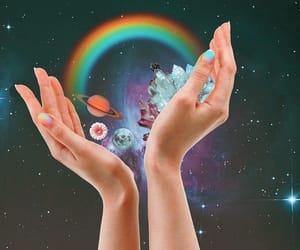 hands, rainbow, and stars image