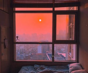 sunset, window, and aesthetic image
