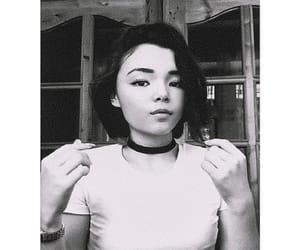 black and white, chocker, and long nails image