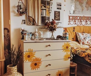 bedroom, yellow, and flowers image