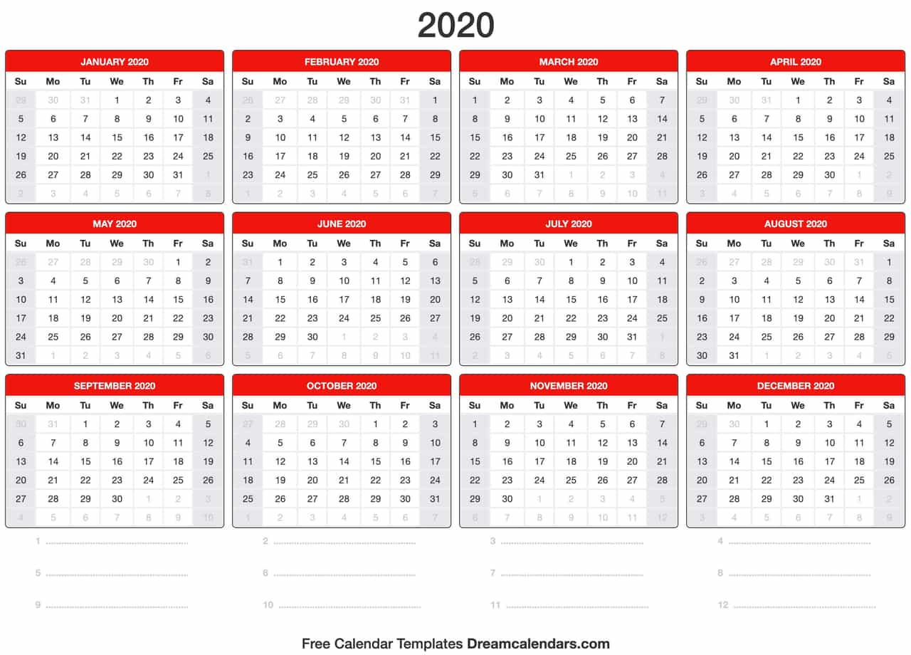 graphic about Printable 2020 Calendar referred to as Blank Printable 2020 (Annually) Calendar upon We Centre It